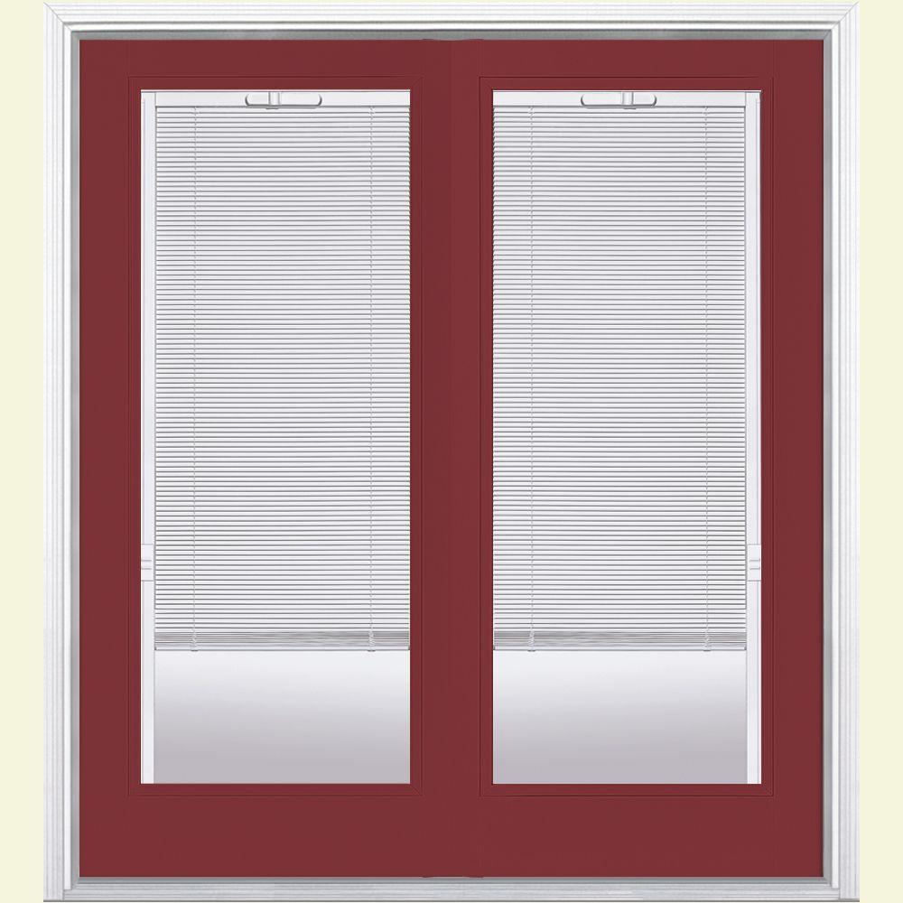 Masonite 60 in. x 80 in. Red Bluff Prehung Right-Hand Inswing Mini Blind Steel Patio Door with Brickmold in Vinyl Frame