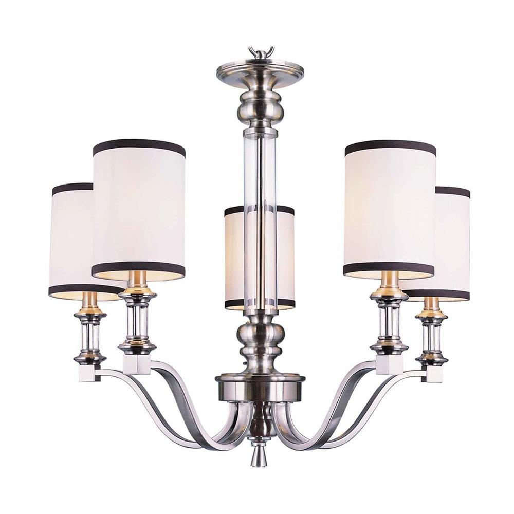 Bel Air Lighting Stewart 5-Light Brushed Nickel Chandelier with White and Black Shades