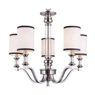 Stewart 5-Light Brushed Nickel Chandelier with White and Black Shades