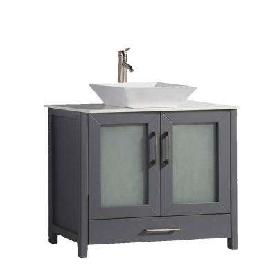 Jordan 36 in. W x 18.5 in. D x 36 in. H Vanity in Grey with Quartz Vanity Top in Off-White with White Basin
