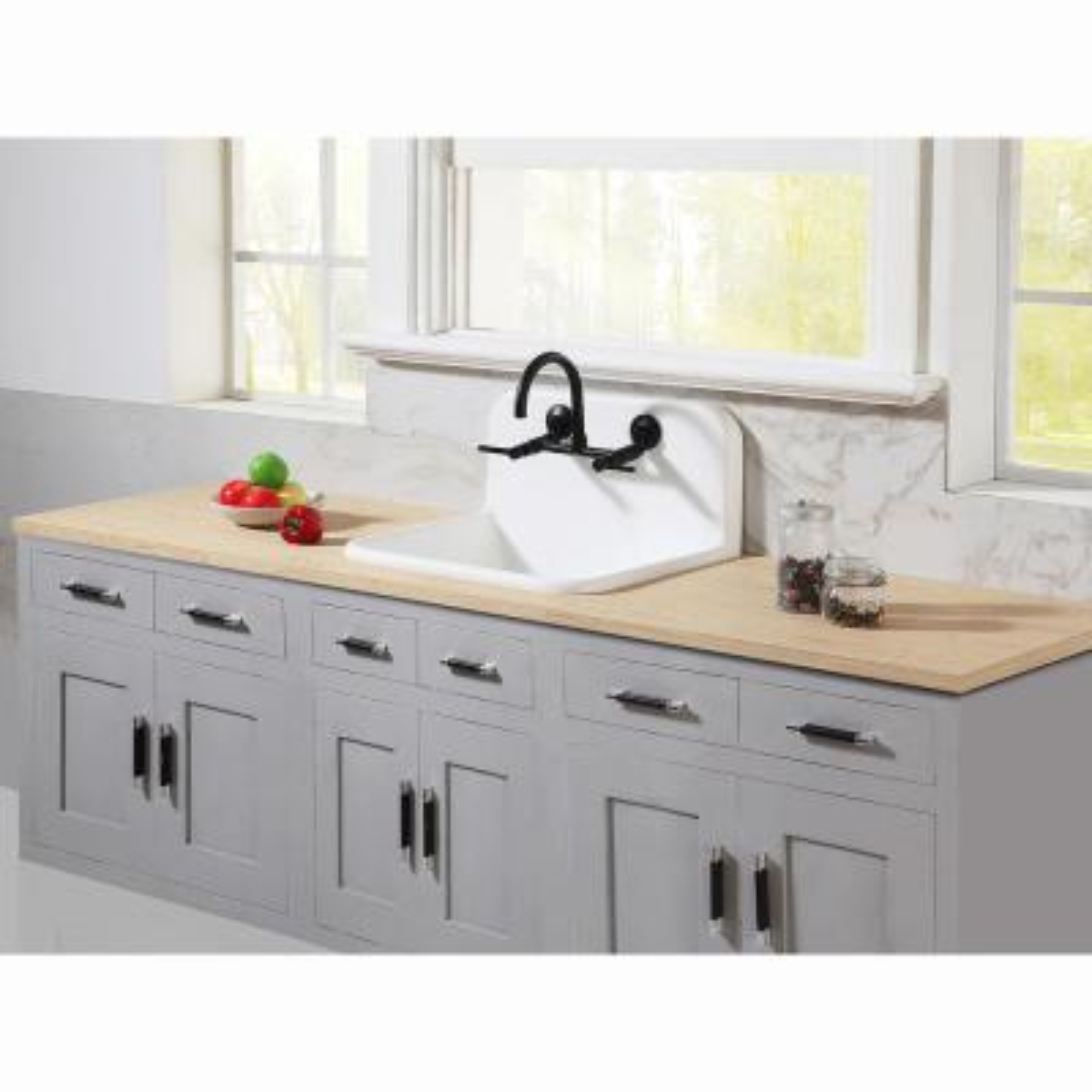 Adjustable Center 2-Handle Wall-Mount Standard Kitchen Faucet in Matte Black