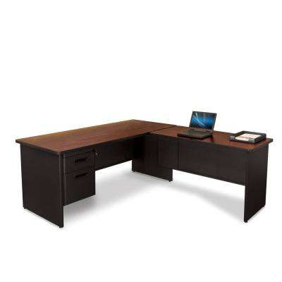 Dark Neutral and Mahogany Desk with Return