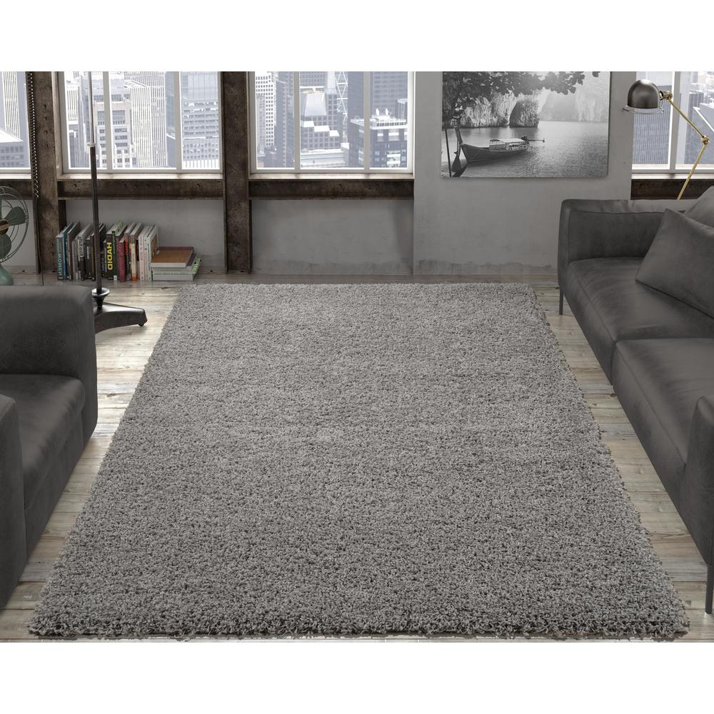 Contemporary solid grey 5 ft x 7 ft shag area rug