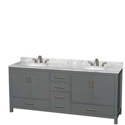 Sheffield 80 in. W x 22 in. D Vanity in Dark Gray with Marble Vanity Top in White Carrara with White Basins