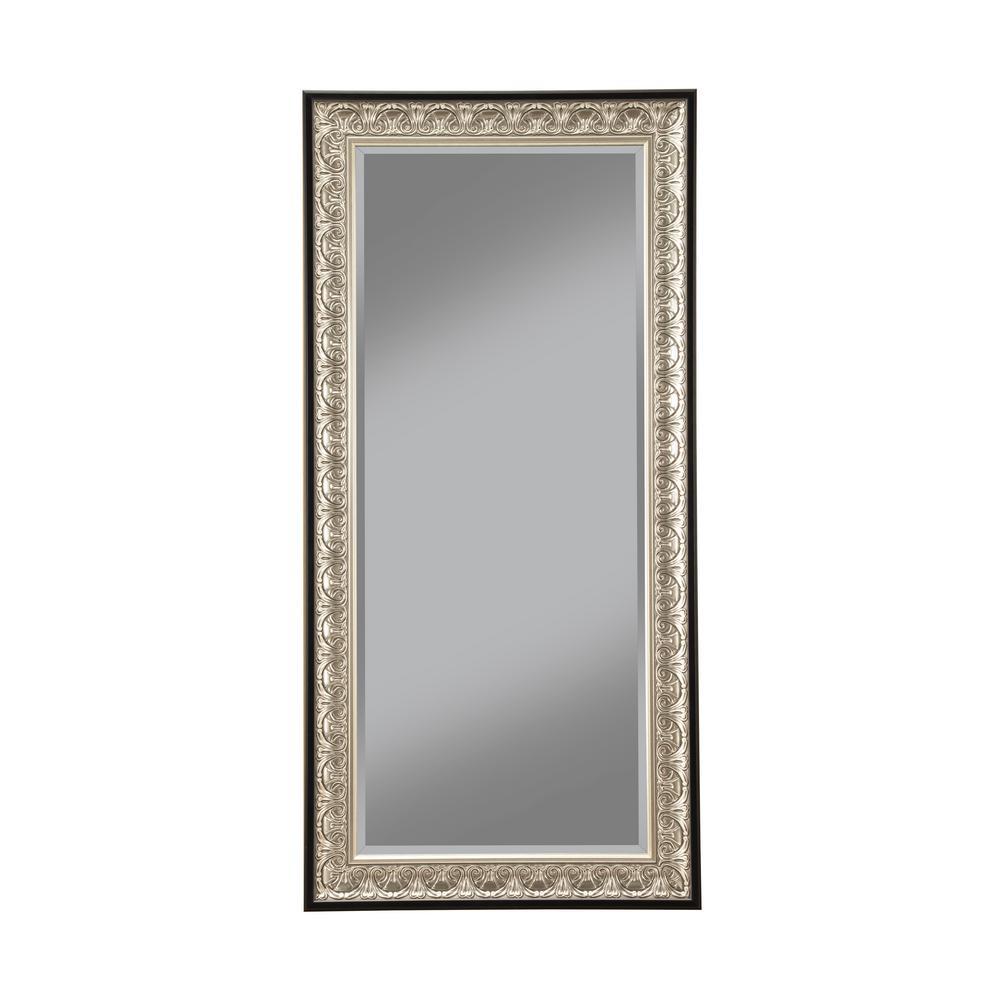 Monaco Silver and Black Full Length Leaner Floor Mirror