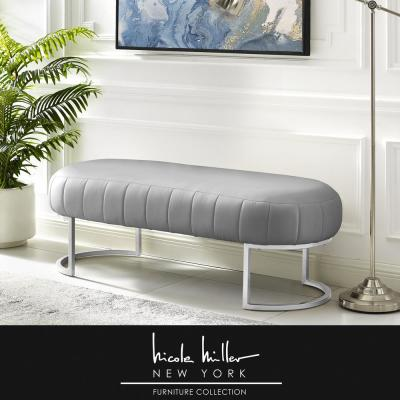 Mohit Grey/Silver Leather Bench with Metal Base