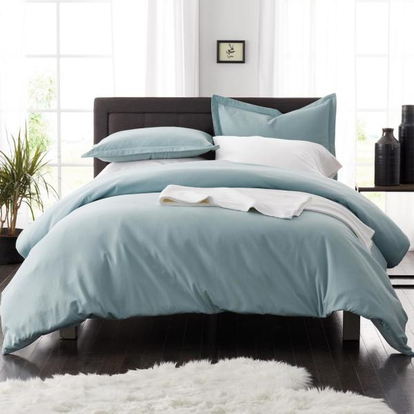 The Company Store Legacy Velvet Flannel Cloud Blue Solid Queen Duvet Cover
