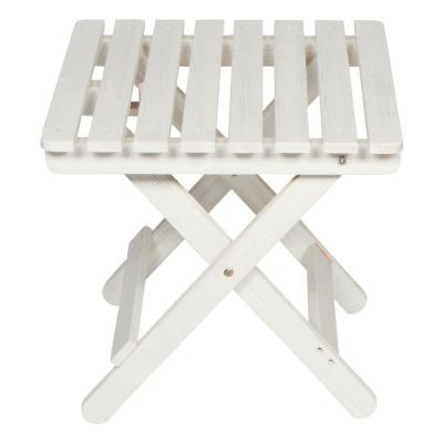 19 in. Tall Eggshell White HYDRO-TEX Finish Cedar Wood Square Adirondack Outdoor Folding Side Table