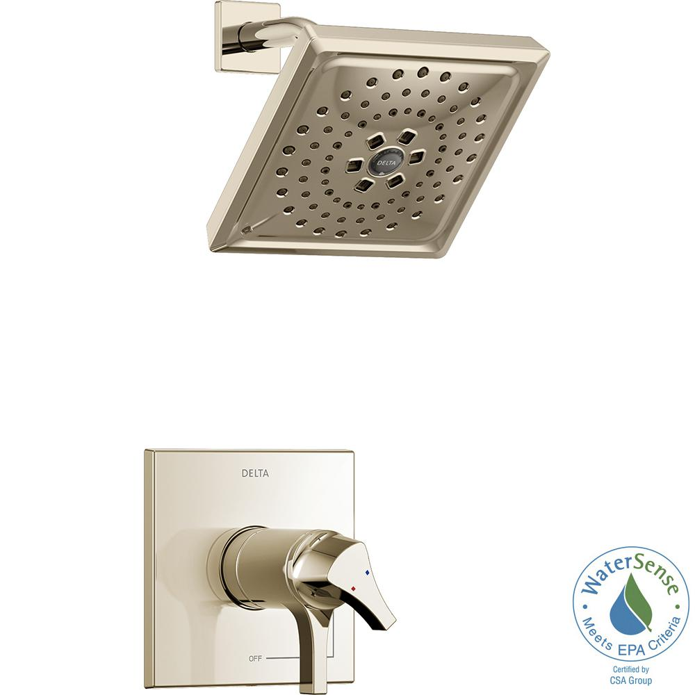 Delta Zura TempAssure 1 Handle Shower Faucet Trim Kit With H2Okinetic Spray  In Polished Nickel
