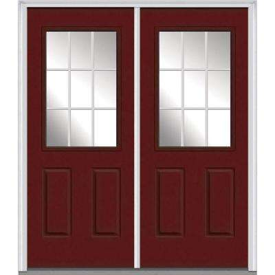 64 in. x 80 in. White Internal Grilles Left-Hand Inswing 1/2-Lite Clear Painted Fiberglass Smooth Prehung Front Door