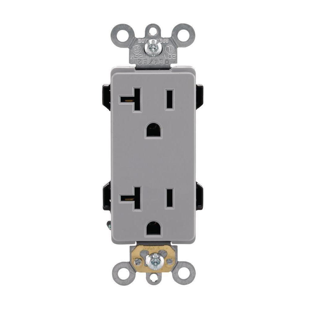 Decora Plus 20 Amp Industrial Grade Duplex Outlet, Gray