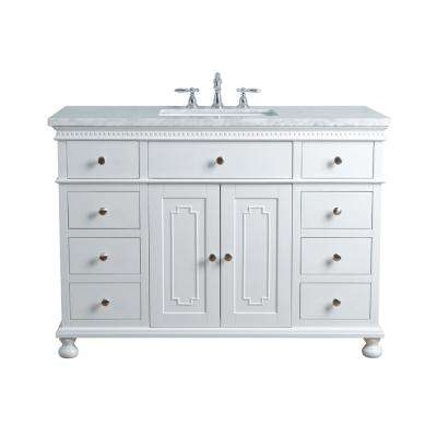 48 in. Abigail Embellished Single Sink Vanity in White with Marble Vanity Top in Carrara with White Basin