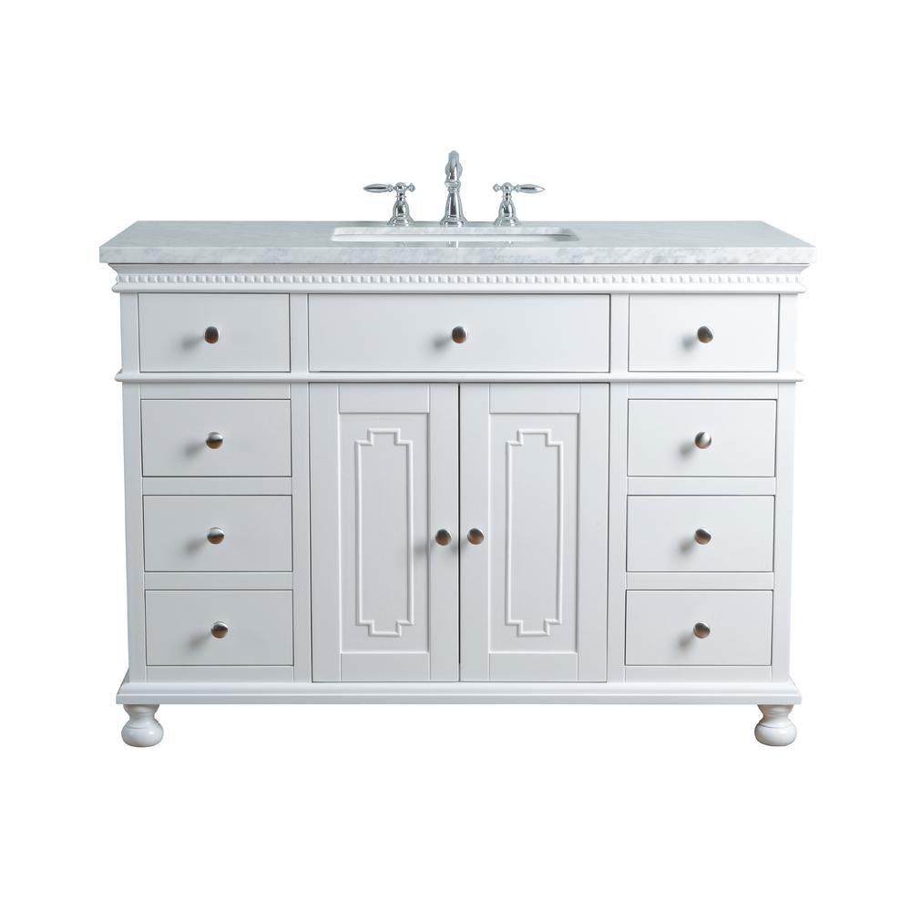 Stufurhome 48 In Abigail Embellished Single Sink Vanity In White With Marble Vanity Top In Carrara With White Basin