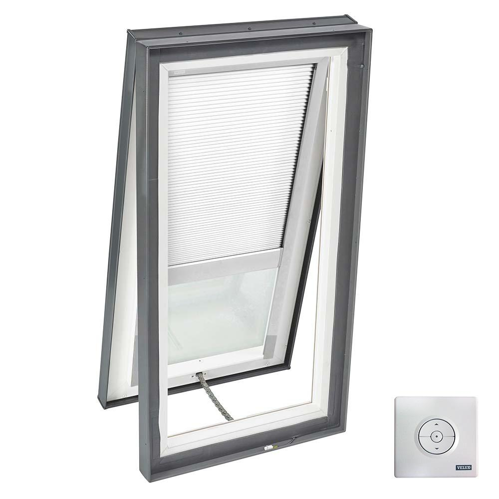 VELUX 22-1/2 in. x 34-1/2 in. Solar Powered Venting Curb-Mount Skylight w/ Laminated Low-E3 Glass, White Room Darkening Blind