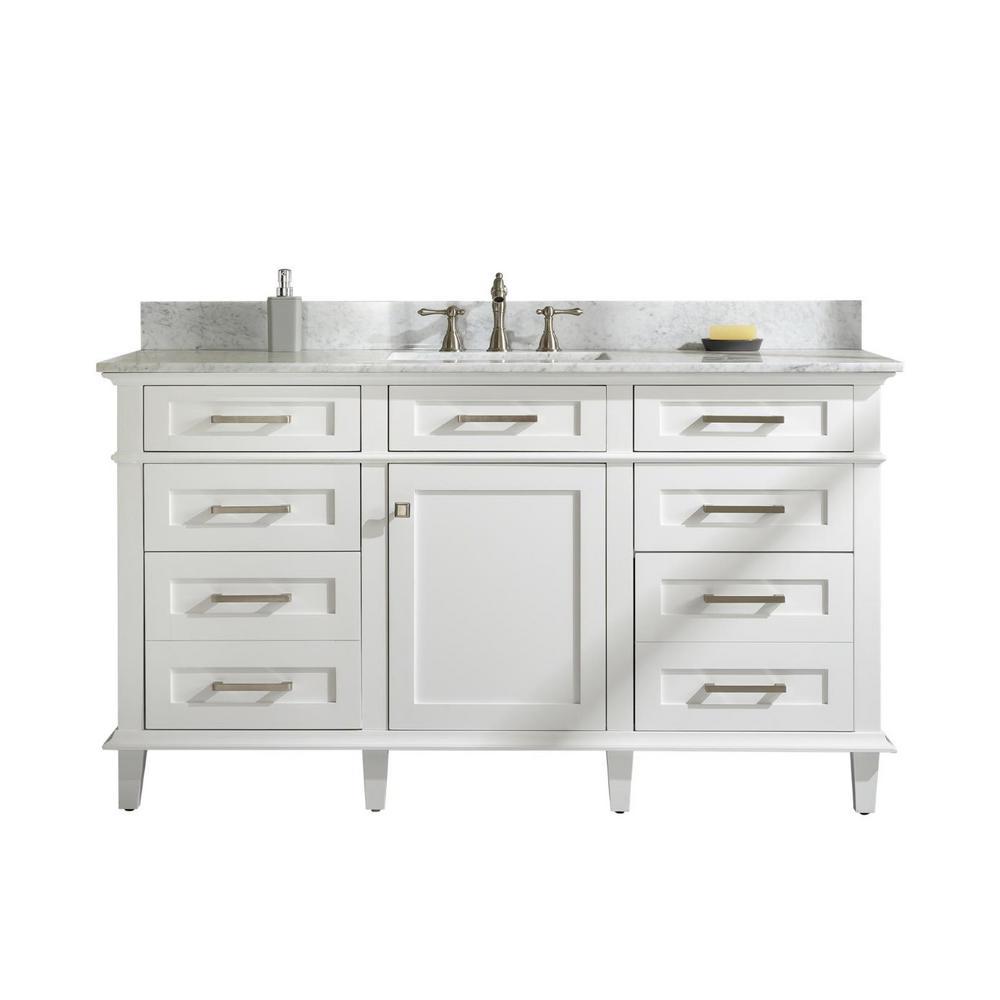 60 in. W x 22 in. D Vanity in White with Marble Vanity Top in White with White Basin With Backsplash