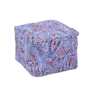 Denim Paisley Square Outdoor Pouf