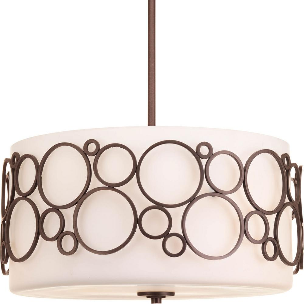 Bingo Collection 3-Light Venetian Bronze Foyer Pendant with Opal Etched Glass