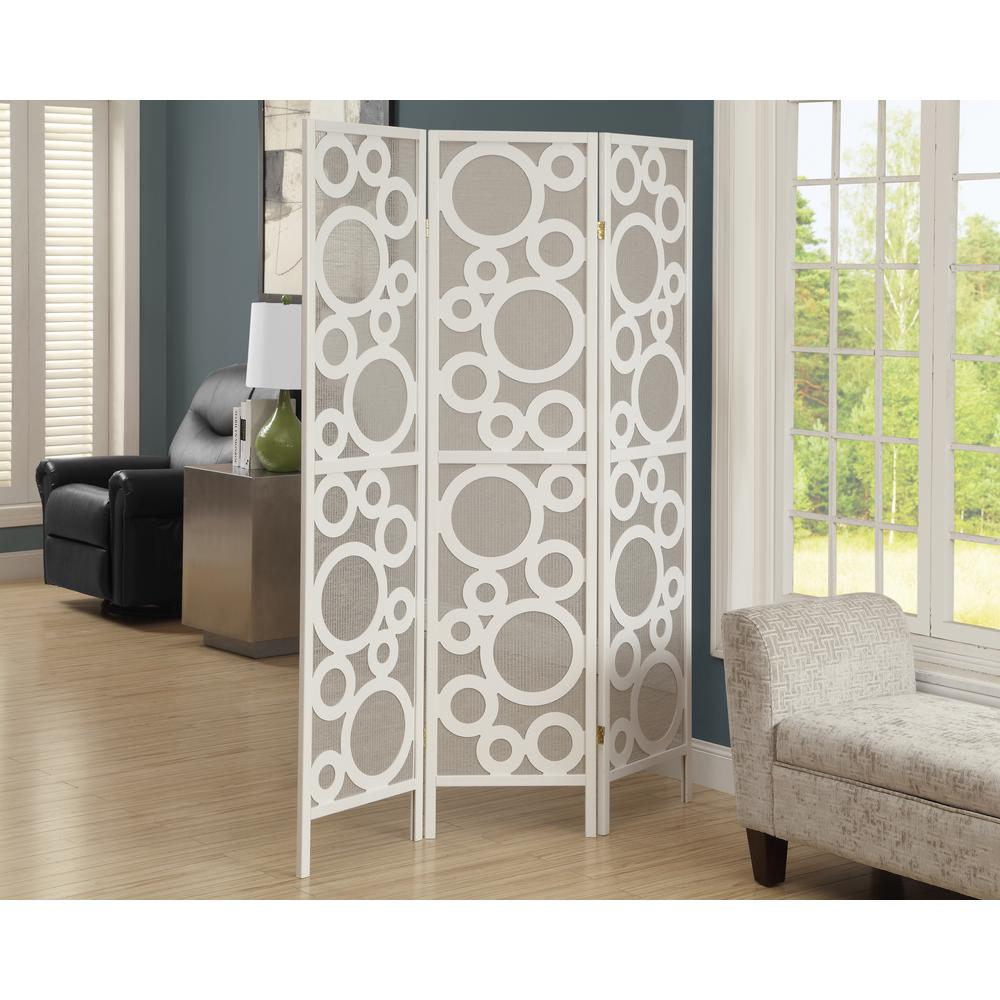 Monarch Specialties 592 ft White 3 Panel Room Divider I 4635 The