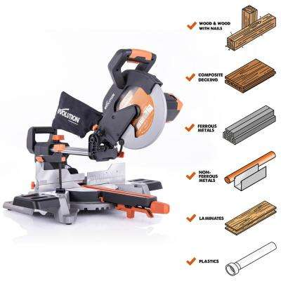 15 Amp 10 in. Sliding Compound Miter Saw w/Multi-Material Cutting Blade for Wood, Decking, Metal, Laminate, Plastic