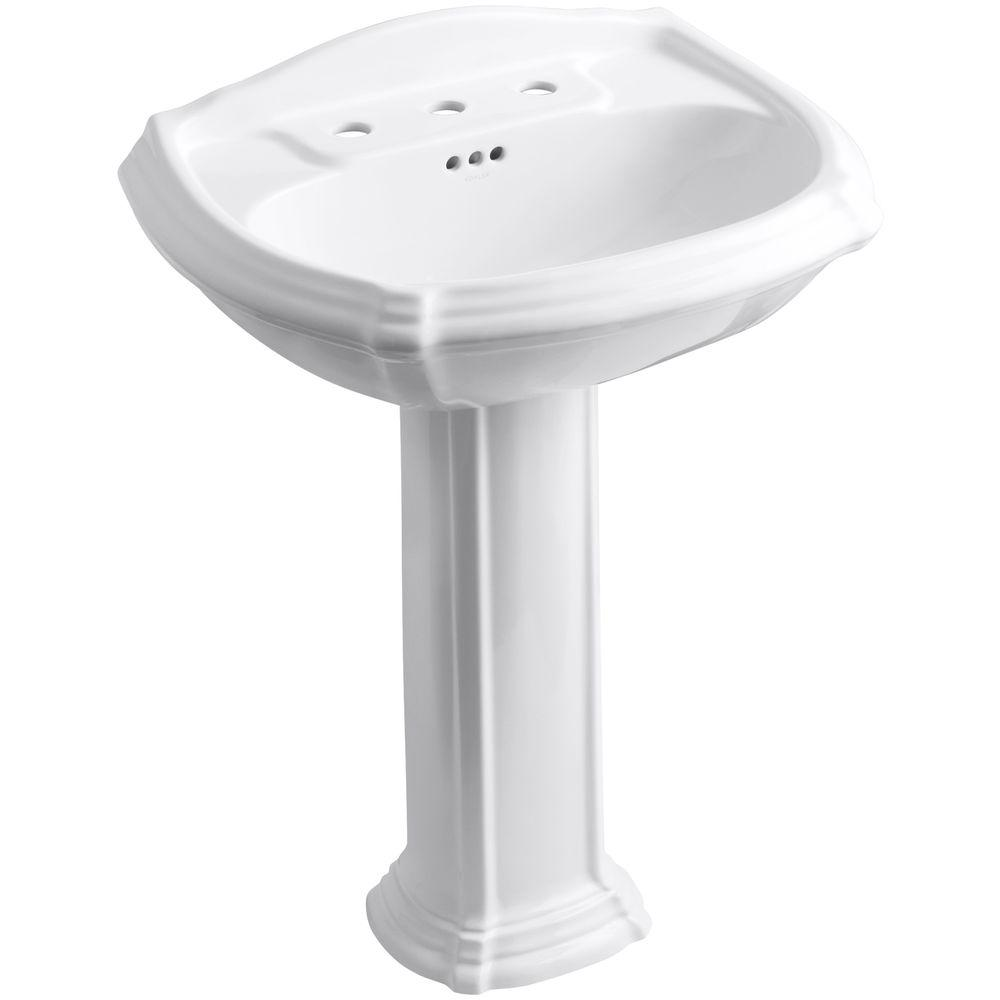 Portrait Vitreous China Pedestal Combo Bathroom Sink with 8 in. Centers