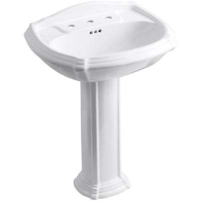 Portrait Vitreous China Pedestal Combo Bathroom Sink with 8 in. Centers in White with Overflow Drain