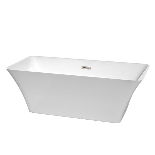 Wyndham Collection Tiffany 5.67 ft Center Drain Soaking Tub in White