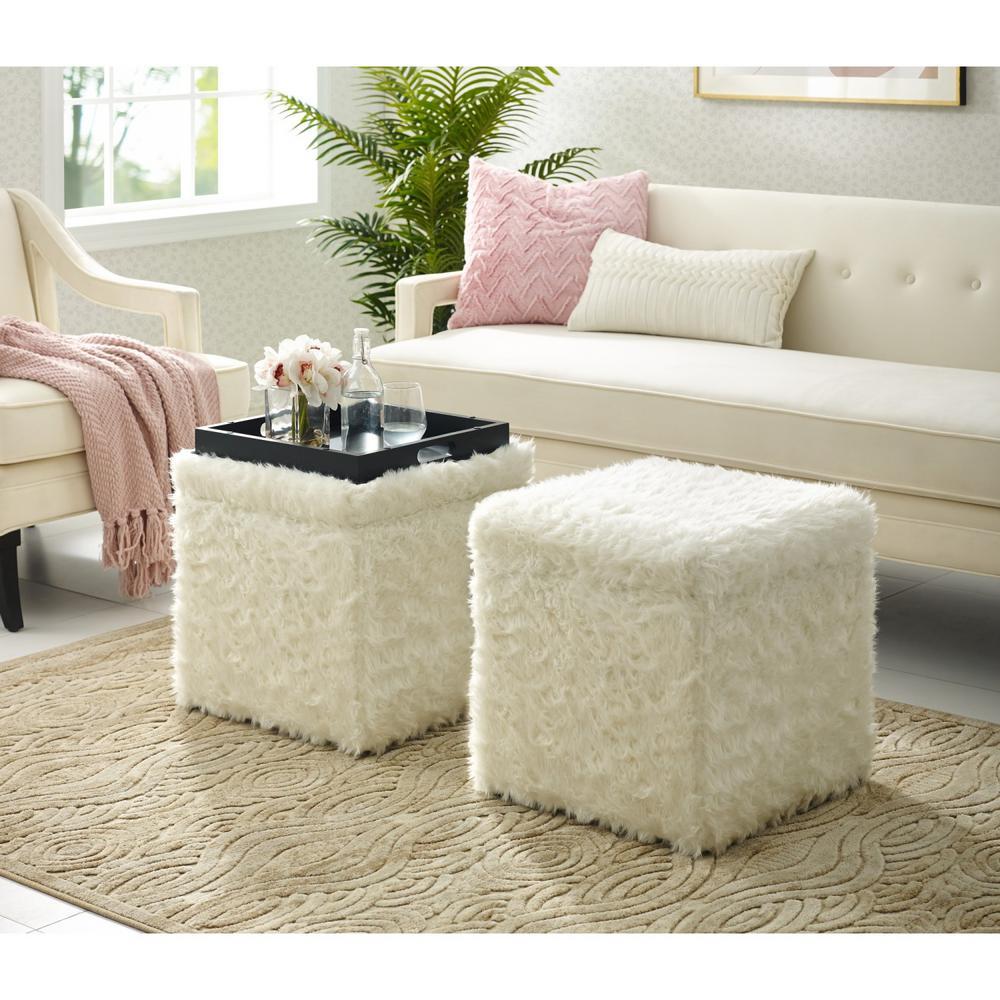 Prime Inspired Home Ryleigh White Faux Fur Cube Storage Ottoman Creativecarmelina Interior Chair Design Creativecarmelinacom