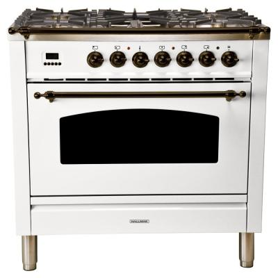 36 in. 3.55 cu. ft. Single Oven Italian Gas Range with True Convection, 5 Burners, Griddle, LP Gas, Bronze Trim in White