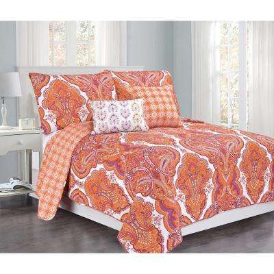 Brilliance Paisley Full-Queen Orange/Coral with Pillow 5-Piece Cotton Quilt Set