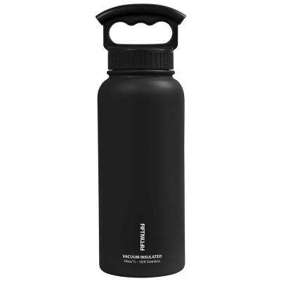 34 oz. Vacuum-Insulated Bottle with Wide-Mouth 3-Finger Handle Lid in Matte Black