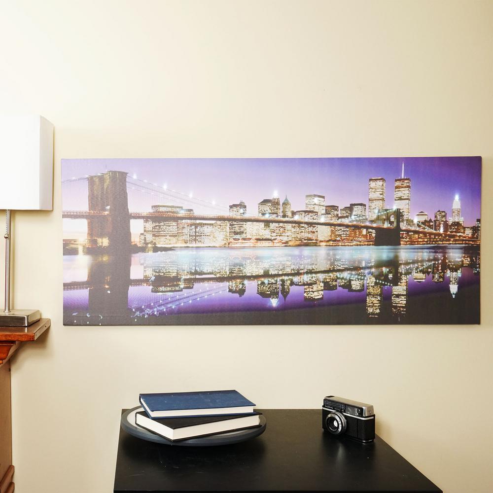 15.75 in. x 39.25 in. LED Lighted Brooklyn Bridge Skyline Canvas Wall Art