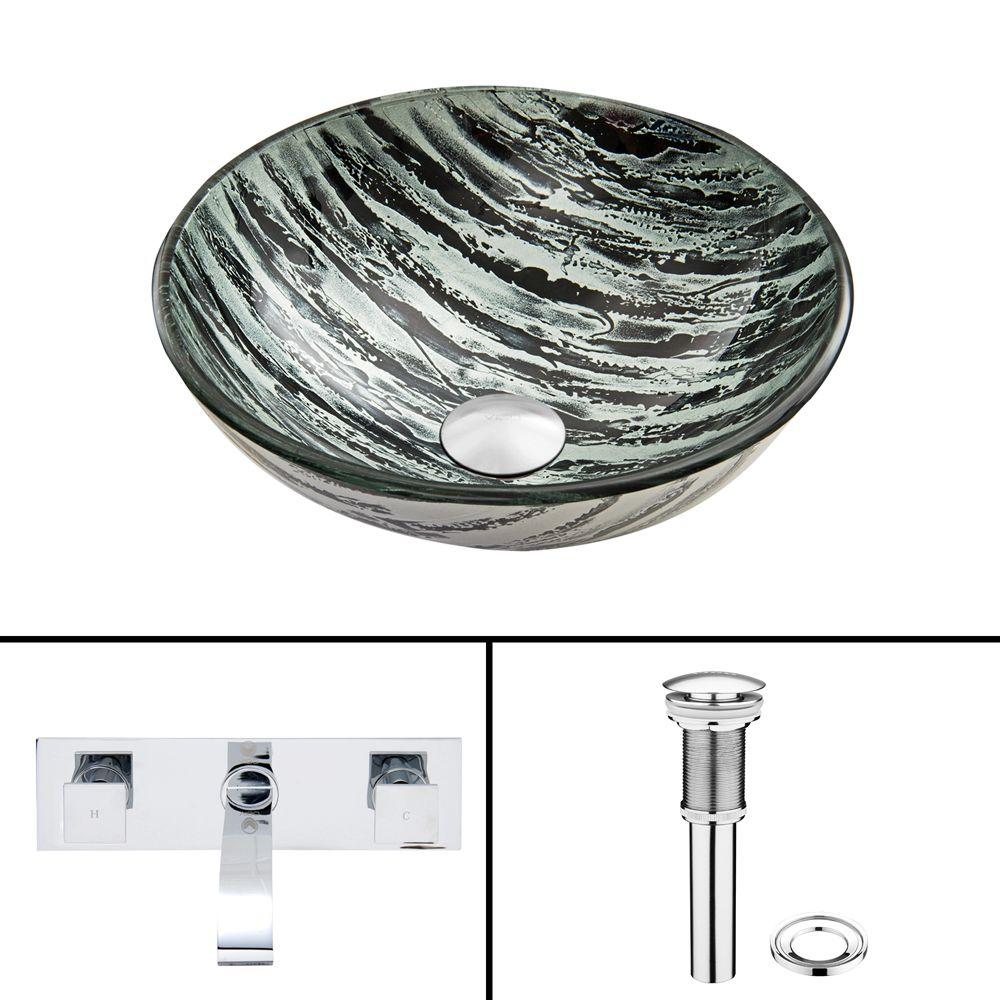 VIGO Glass Vessel Sink in Rising Moon with Titus Wall-Mount Faucet Set in Chrome