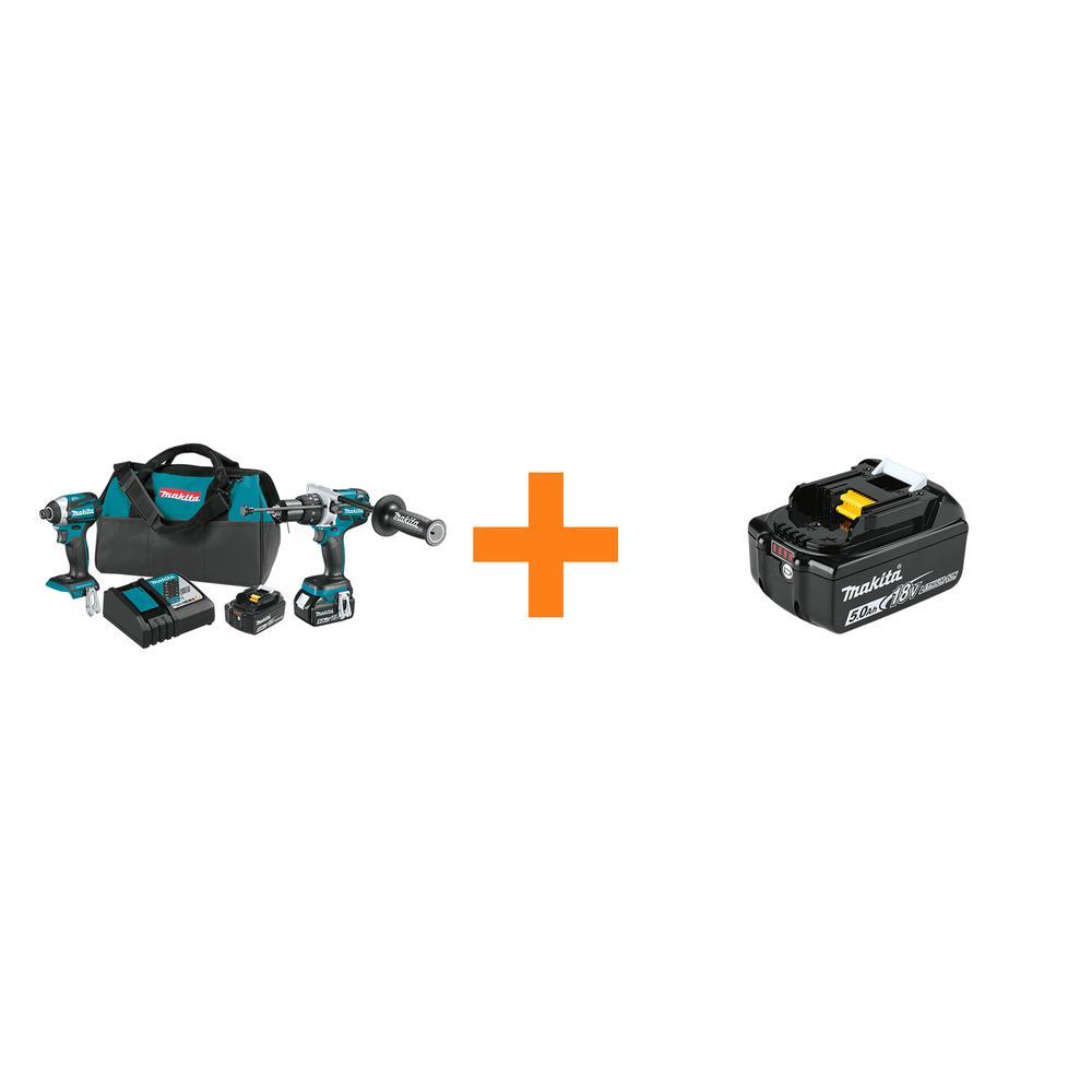 18V LXT Brushless Cordless 2-piece Combo Kit (Hammer Drill/ Impact Driver) 5.0Ah/Bonus 18V 5.0Ah LXT Lithium-Ion Battery