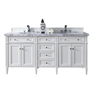 James Martin Signature Vanities Brittany 72 inch W Double Vanity in Cottage White with Marble Vanity Top in Carrara... by James Martin Signature Vanities