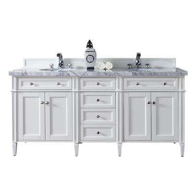 Brittany 72 in. W Double Vanity in Cottage White with Marble Vanity Top in Carrara White with White Basin