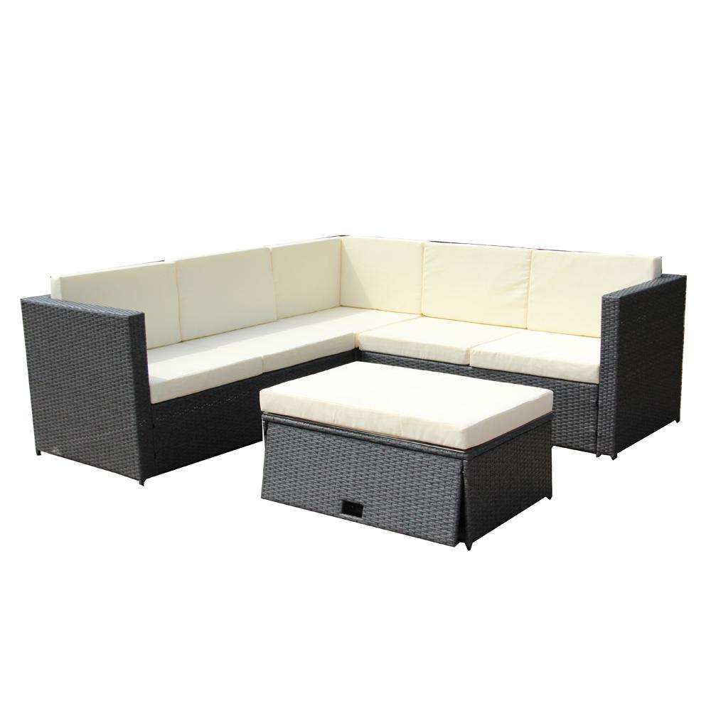 Corner Sofa Set Price In Coimbatore: ALEKO Dark Gray 4-Piece Wicker Patio Conversation Set With