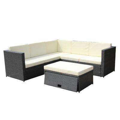 Dark Gray 4-Piece Wicker Patio Conversation Set with Cream Cushions