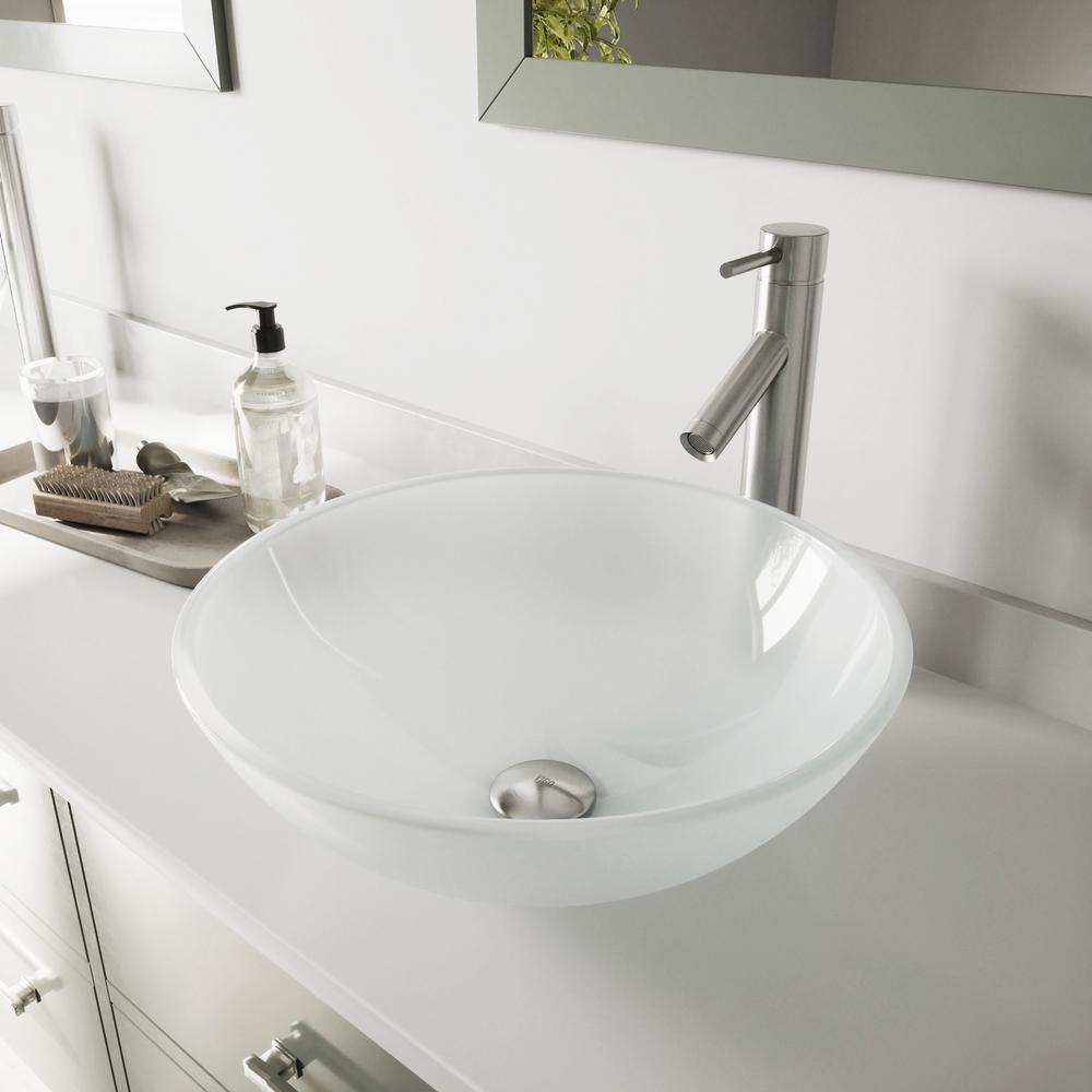 VIGO Glass Vessel Bathroom Sink in White Frost and Dior Faucet Set in Brushed Nickel was $299.9 now $207.9 (31.0% off)