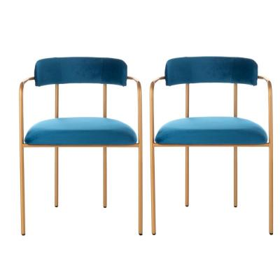 Camille Navy/Gold Accent Chair (Set of 2)