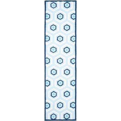 Kids Blue/Ivory 2 ft. x 9 ft. Runner Rug