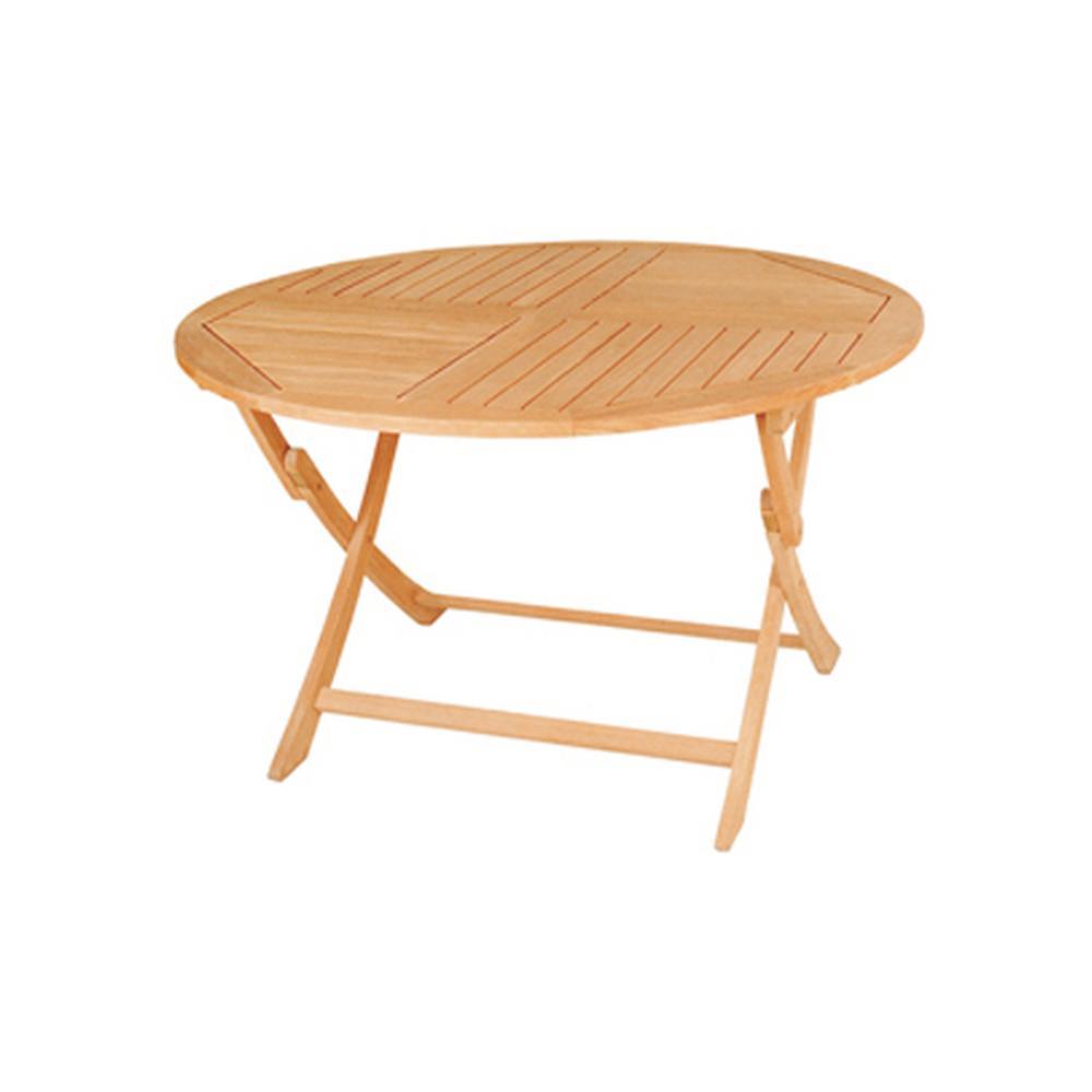 Jett Round Teak Folding Outdoor Dining Table