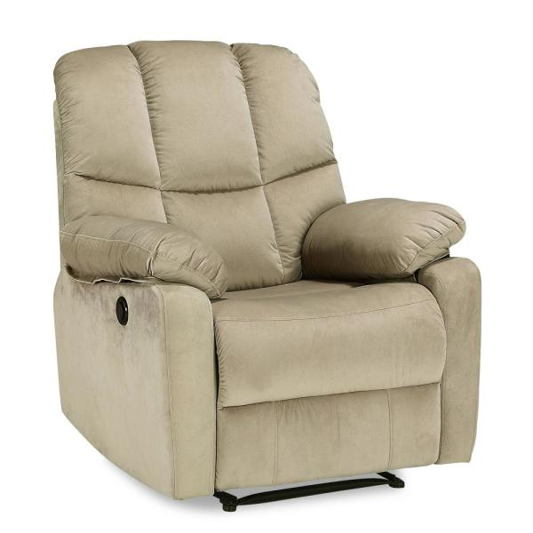 Jake Beige Upholstered Power Recliner with Padded Arms