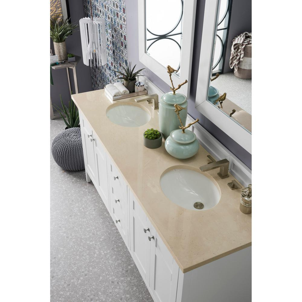Palisades 72 in. Double Bath Vanity in Bright White with Marble Vanity Top in Galala Beige with White Basin