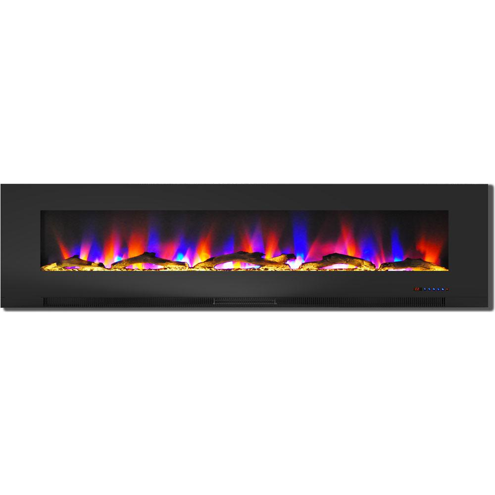 hanover 78 in wall mount electric fireplace in black with multi
