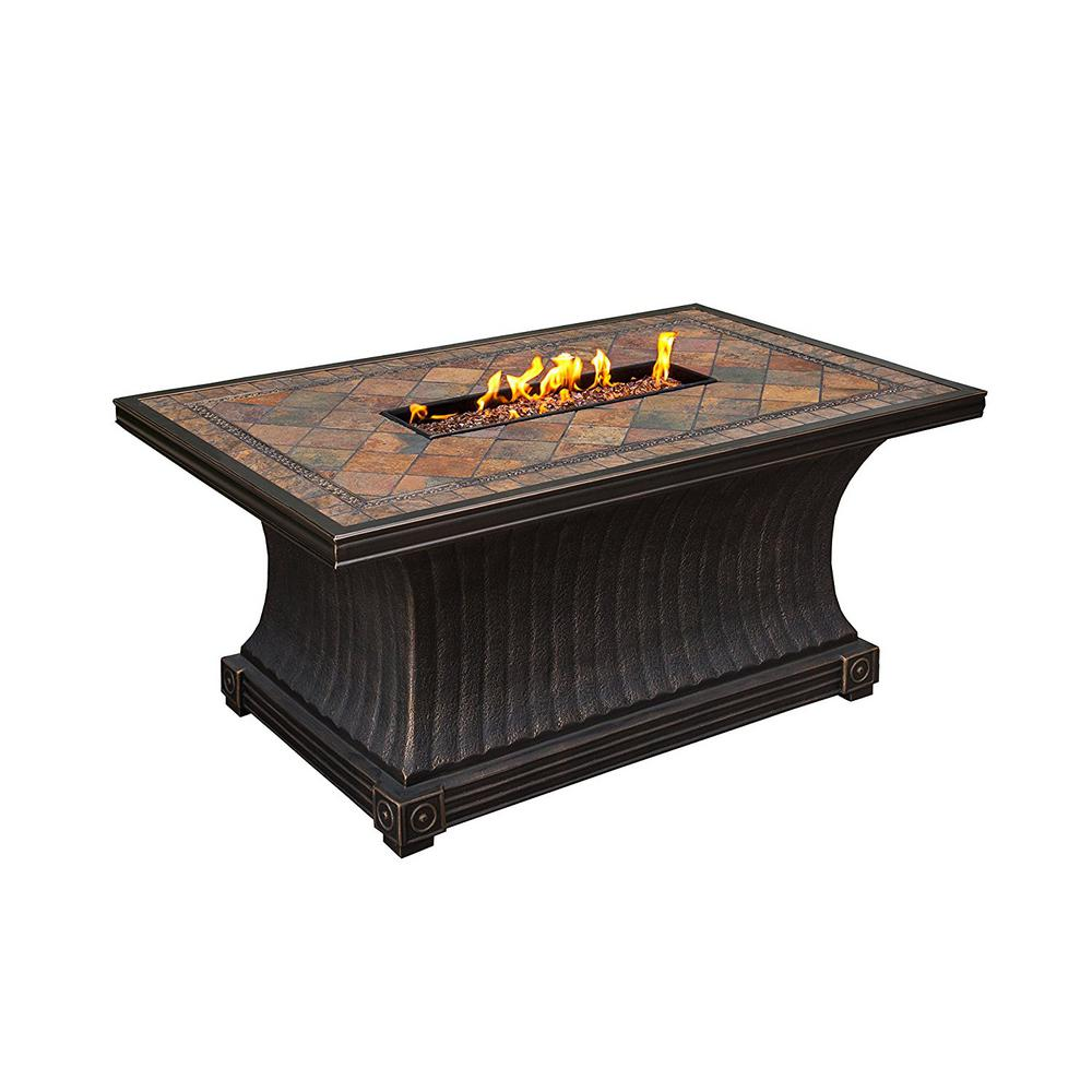 Vienna 52 in. x 24 in. Gas Fire Pit with Red Lava Rocks and Weather Cover