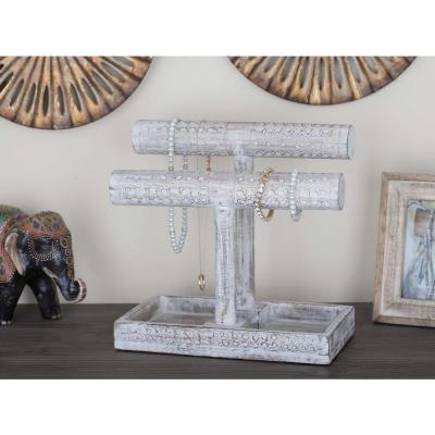 12 in. x 11 in. Rustic Mango Wood Jewelry Holder in Distressed White with Carved Markings