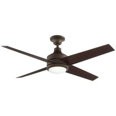 Mercer 52 in. Integrated LED Indoor Oil Rubbed Bronze Ceiling Fan with Light Kit and Remote Control