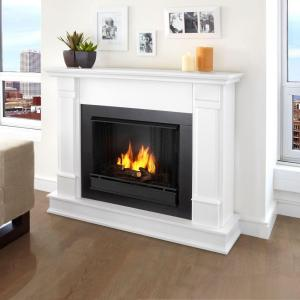 gel fuel fireplace in white real flame