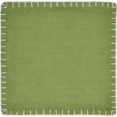 Olive 15 in. x 15 in. Green Embroidered Edge Cotton Square Placemats (Set of 4)