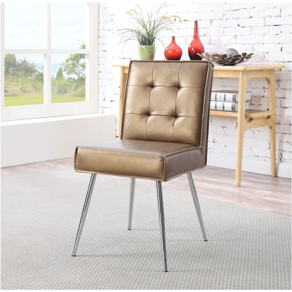 Ave Six Amity Sizzle Copper Fabric Tufted Dining Chair